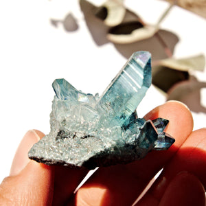 Cute Shimmering Blue Aqua Aura Quartz Cluster From Arkansas #1