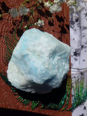 Blue Cotton Candy Aragonite Natural Chunk Specimen 1