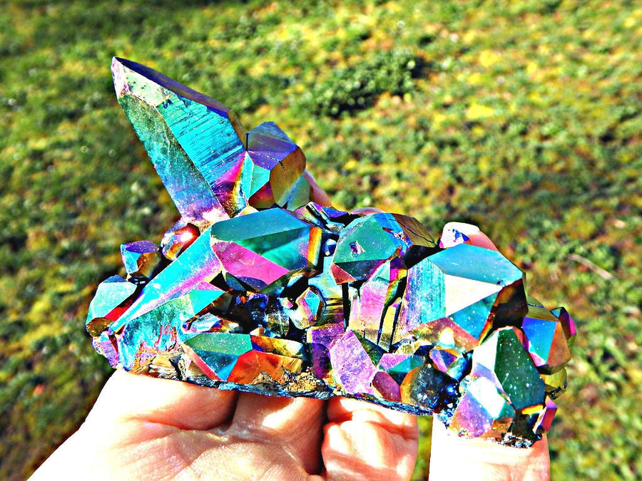 XL Rainbow Frenzy Titanium Quartz Cluster - Earth Family Crystals