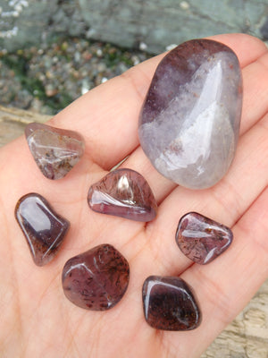 Fabulous Inclusions~Real Canadian Auralite-23 Polished Tumble Set of 7 Stones