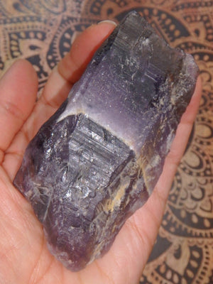 Dark Purple Canadian Auralite-23 Natural Hand Held Specimen - Earth Family Crystals