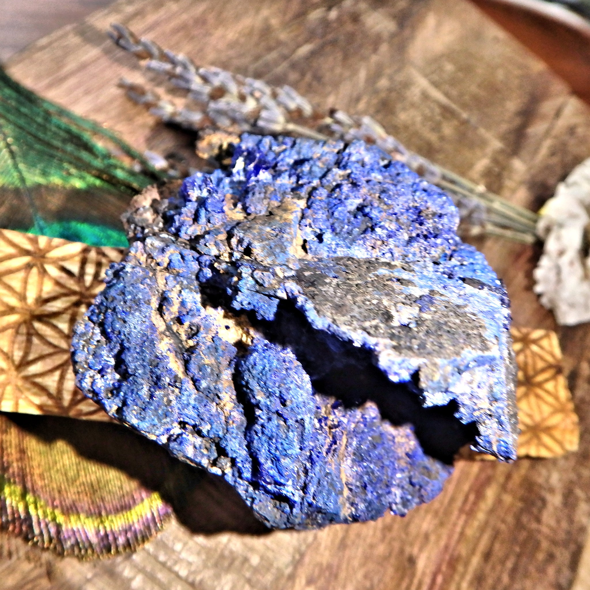 Natural Cobalt Blue Deep Cave Azurite Geode From Morenci Mine Arizona