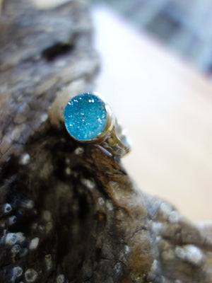 Blue Agate Druzy Ring In Sterling Silver (Size 7.5 ) - Earth Family Crystals
