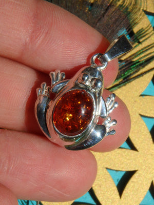 Cognac Baltic Amber Frog Pendant in Sterling Silver (Includes Silver Chain)