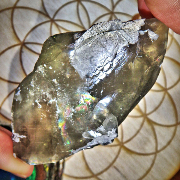 Intense Rainbows~ Shiny Golden Barite Natural DT Point Specimen