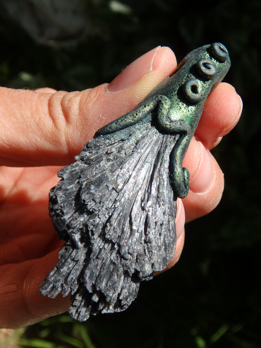Grounding Black Kyanite Handmade Energy Pendant (On Adjustable Cotton Cord)