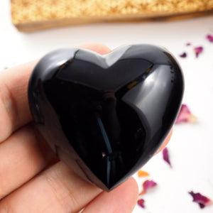 Shiny Black Obsidian Puffy Heart From Mexico