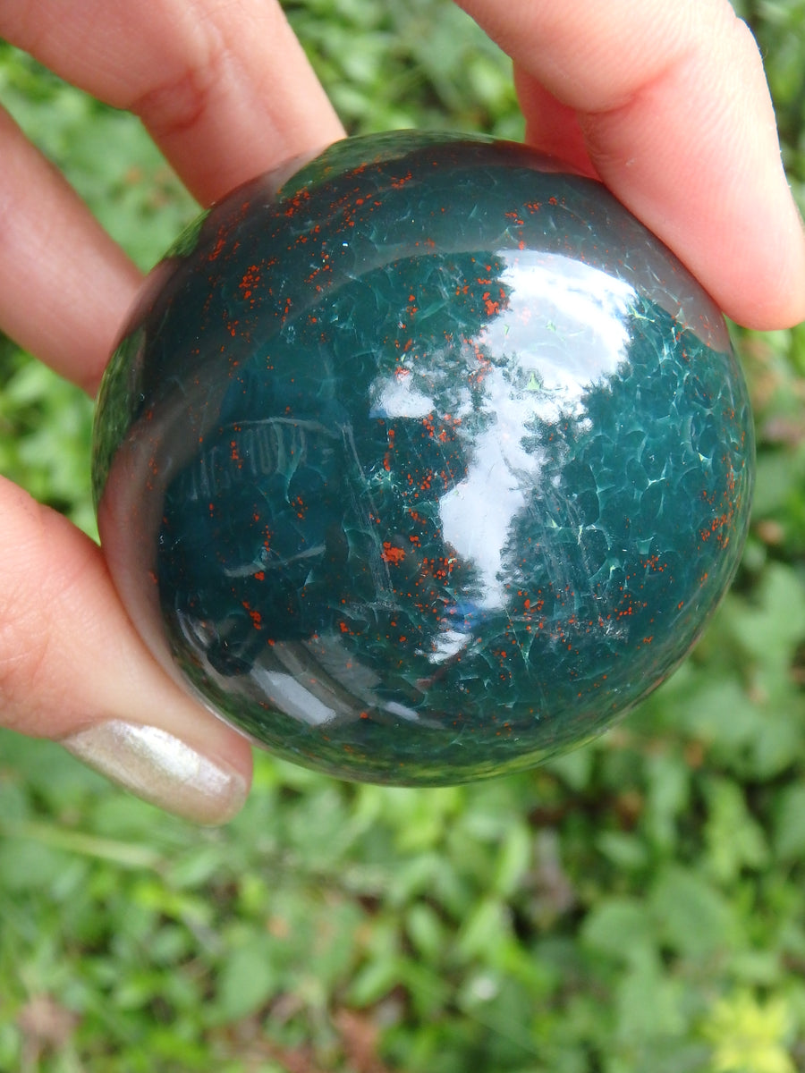 Shiny Deep Forest Green With Red Speckles Bloodstone Sphere Carving