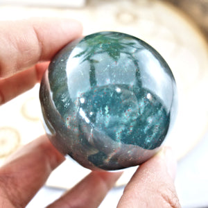 Shiny Deep Green Bloodstone Sphere Carving