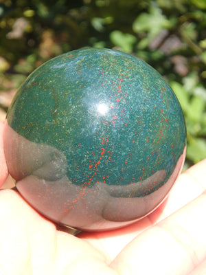Large Bloodstone Green Forest Sphere with Red Speckles
