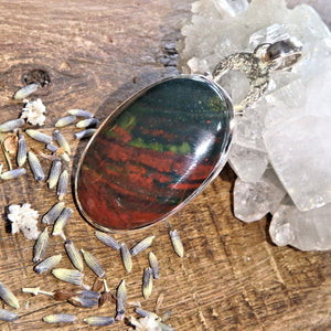 Deep Green & Burgundy Bloodstone Sterling Silver Pendant (Includes Silver Chain)