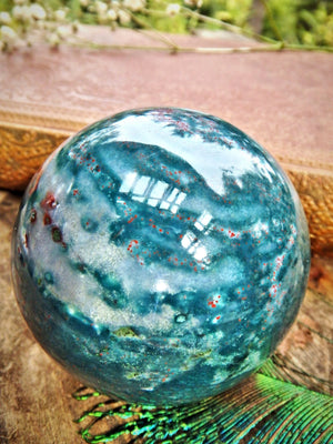 Deep Red Patterns Lovely Inclusions Bloodstone Sphere Carving
