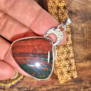 Burgundy & Forest Green Bloodstone  Pendant in Sterling Silver (Includes Silver Chain)