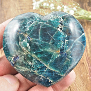 Unique Deep Blue Apatite Love Heart Carving From Madagascar #1
