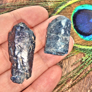 Set of 2 Natural Deep Blue Apatite Points From Brazil