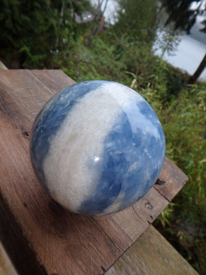 Large Soothing Sky Blue Calcite Sphere (REDUCED) - Earth Family Crystals