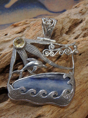 Underwater Adventure! Blue Kyanite Faceted Citrine Swimming Dolphin Pendant in Sterling Silver (Includes Silver Chain) - Earth Family Crystals