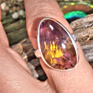 Incredible Golden & Purple Cacoxenite Gemstone Ring in Sterling Silver (Size 9.5)