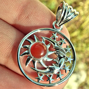 Crescent Moon Face Stars & Carnelian Sun  Pendant in Sterling Silver (Includes Silver Chain)