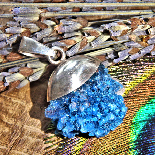 Gorgeous Natural Blue Cavansite Floating Sterling Silver Pendant (Includes Silver Chain)