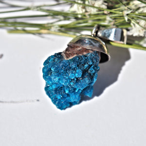 Electric Blue Natural Floating Cavansite in Sterling Silver (Includes Silver Chain) #2