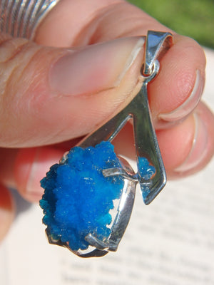 Stunning Vibrant Blue Cavansite Pendant in Sterling Silver (Includes Silver Chain) - Earth Family Crystals