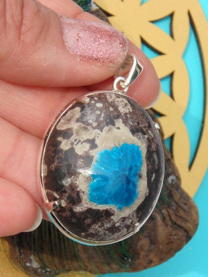 Amazing Electric Blue Cavansite Polished  Pendant In Sterling Silver (Includes Silver Chain) - Earth Family Crystals