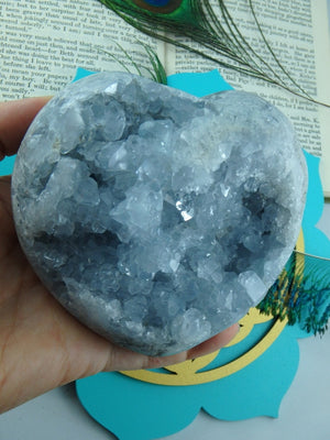 Jumbo Sky Blue Druzy Celestite Puffy Heart Specimen - Earth Family Crystals