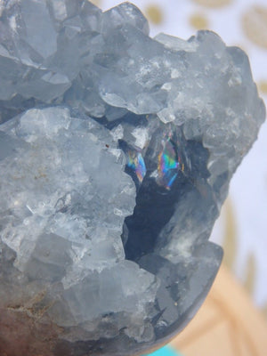 Amazing Blue Druzy Celestite Geode Carving - Earth Family Crystals