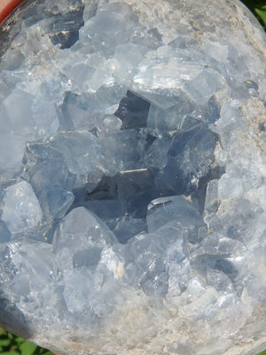 Jumbo Soothing Blue Sparkle Celestite Geode Love Heart - Earth Family Crystals