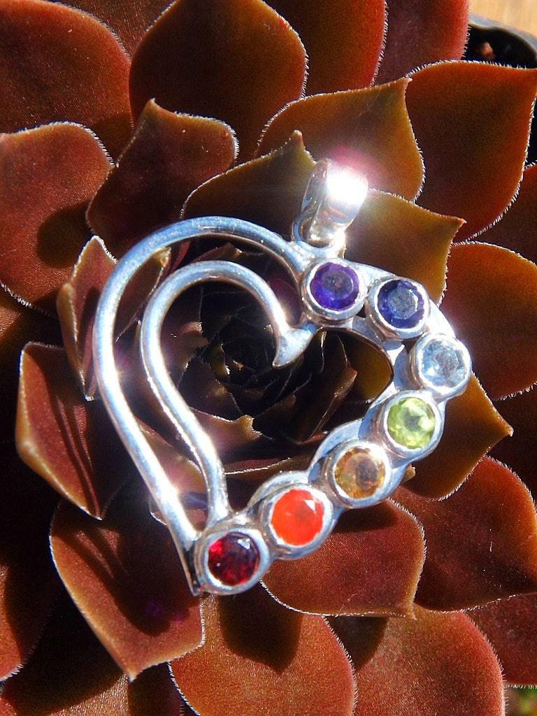 Love Heart Balancing Chakra Pendant In Sterling Silver (Includes Silver Chain) - Earth Family Crystals