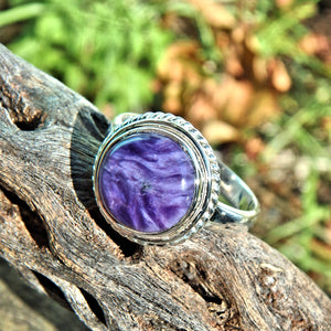 Lush Deep Silky Purple Charoite Ring in Sterling Silver (Size 9.5)