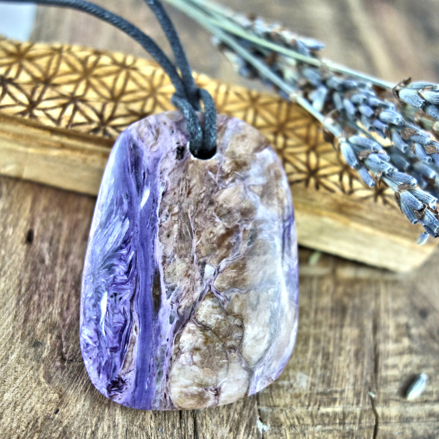 Chunky Silky Purple Charoite Pendant on Adjustable Cotton Cord 3