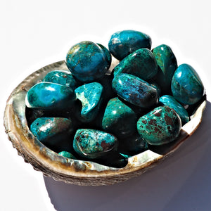 One Vibrant Blue Chrysocolla Polished Palm Stone From Peru