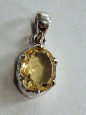 Golden Shine Faceted Natural & Dainty Citrine Pendant in Sterling Silver (Includes Silver Chain) - Earth Family Crystals