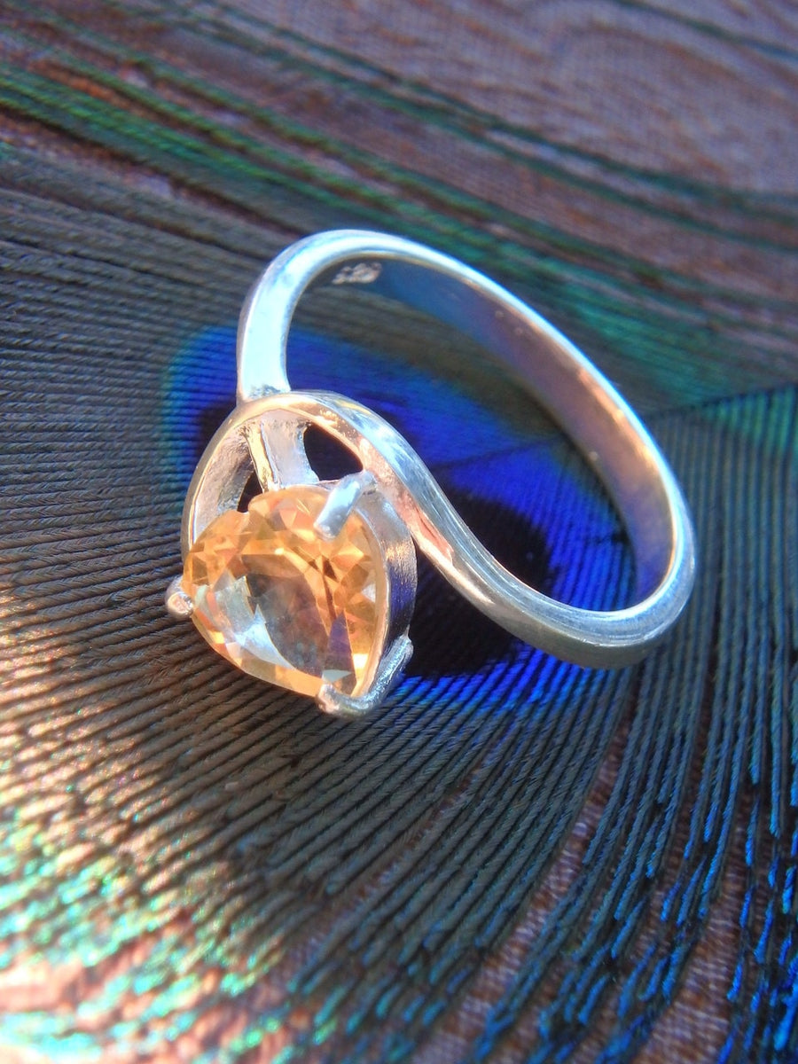 Golden Faceted Citrine Ring in Sterling Silver (Size 5) - Earth Family Crystals