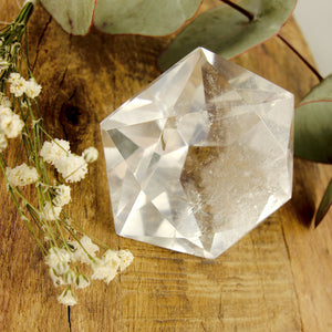Stunning Large Faceted Diamond Cut Clear Quartz Specimen #1