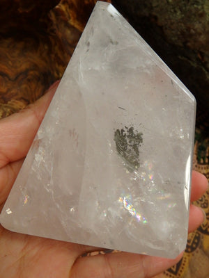Rainbow Loaded Large Clear Quartz Polished Free Form With Golden Pyrite Inclusion - Earth Family Crystals