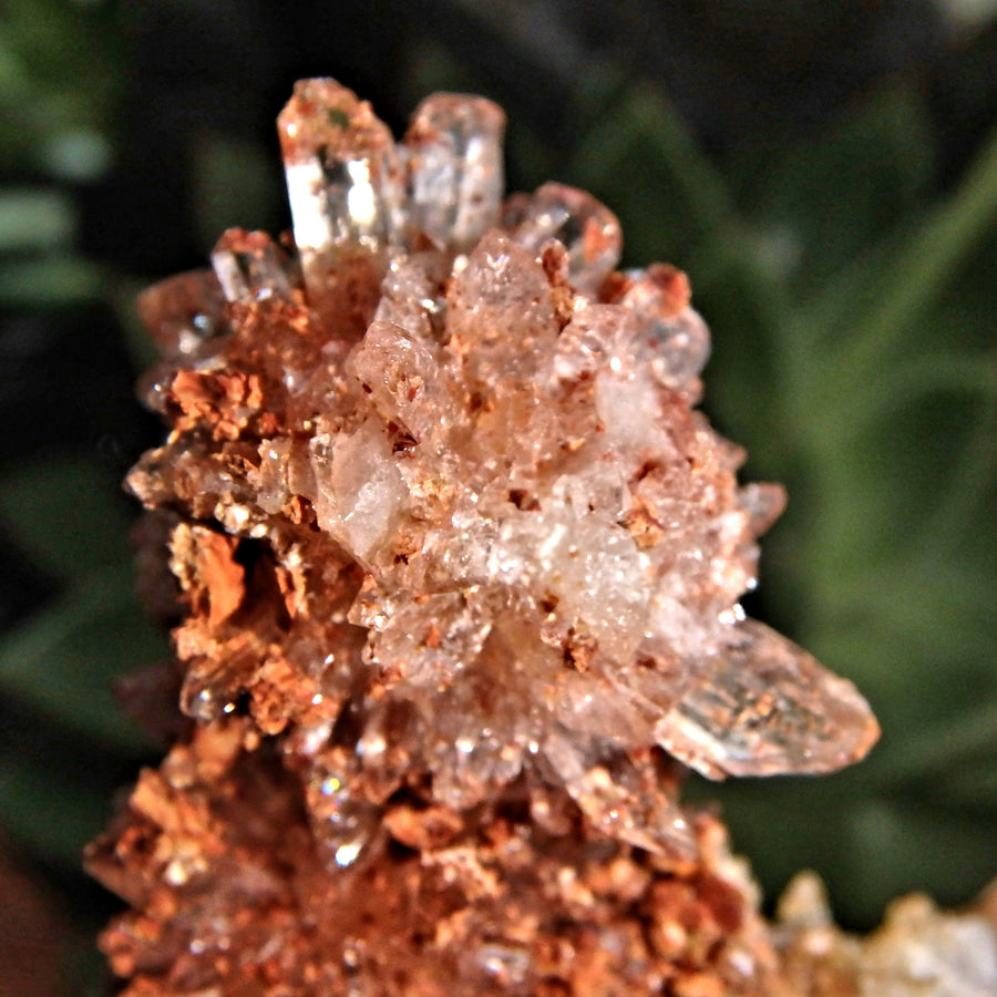 Sparkling Raw Orange Spiky Creedite & Fluorite Crusted Specimen From Mexico