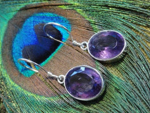 Brilliant Faceted AMETHYST GEMSTONE EARRINGS in Sterling Silver - Earth Family Crystals