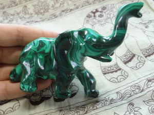 Gorgeous Swirly Green MALACHITE ELEPHANT CARVING - Earth Family Crystals