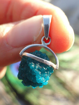 Electric Blue CAVANSITE PENDANT In Sterling Silver (Includes Silver Chain) - Earth Family Crystals