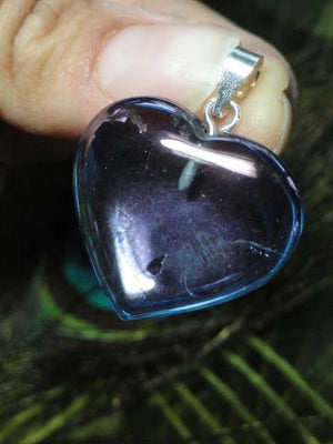 Beautiful TANZAN AURA QUARTZ HEART PENDANT In Sterling Silver (Includes Silver Chain) - Earth Family Crystals