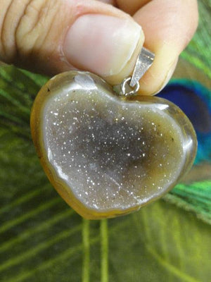 Gorgeous Sparkling AGATE GEODE GEMSTONE HEART PENDANT In Sterling Silver (Includes Silver Chain) - Earth Family Crystals
