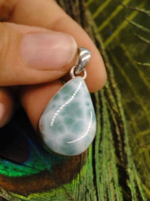 Ocean Paradise Blue LARIMAR GEMSTONE PENDANT In Sterling Silver (Includes Silver Chain) - Earth Family Crystals