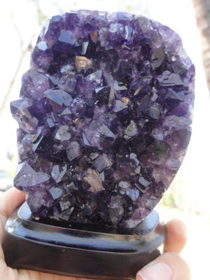 Absolutely Breathtaking! Deep Dark Purple AMETHYST DISPLAY SPECIMEN On Removable Wood Stand - Earth Family Crystals