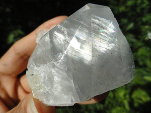 Clear Calcite with Mega rainbows from India - Earth Family Crystals