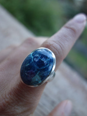 Bold Blue Shattuckite Gemstone Ring in Sterling Silver (Size 8.5) ~(REDUCED) - Earth Family Crystals
