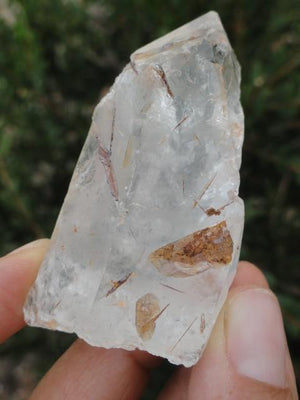 Amazing High Vibration Brazilian CLEAR QUARTZ & Golden BROOKITE POINT - Earth Family Crystals