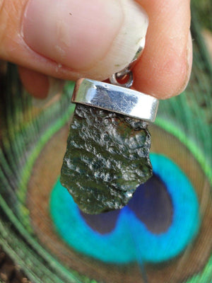 MOLDAVITE PENDANT IN STERLING SILVER (Includes Free Silver Chain) - Earth Family Crystals